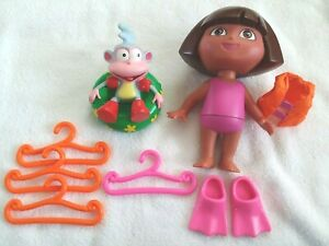 """Lot Dora The Explorer 7 1/2"""" Doll and Accessories Monkey Flippers Hangers"""