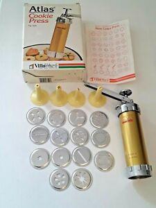 Made in Italy Vintage Atlas Marcato Cookie Press 525 Villa Ware 4 tips 14 Discs