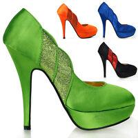 New Glitter Satin Open Club Stiletto Platform High Heel Pumps Sz 2.5/3/4/5/6/7/8