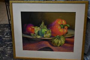 "Petie McKinley Pastel Art ""Tomatillios, Pepper & Plus"" #46, Framed, 25"" x 21.5"""