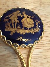 Vintage France Compact  Mirror Gold Color Handheld Vanity Style