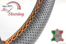 FOR SAAB 9-5 AERO 11-11 PERF LEATHER STEERING WHEEL COVER ORANGE 2 STIT
