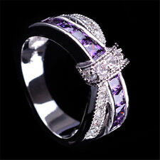 Purple Amethyst & CZ Criss Cross Ring Band White Gold Filled Jewelry Size 8 Gift