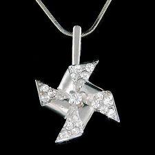 w Swarovski Crystal Moveable Pinwheel Spin Wheel Windmill Charm Pendant Necklace