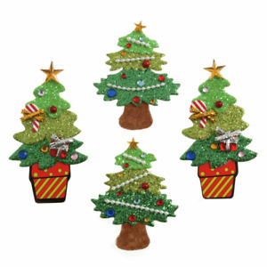 4 x Decorated Glitter Xmas Trees - Self Adhesive Christmas Craft Embellishments
