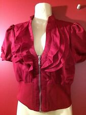 xxi Forever 21 Women's Red Zip up Ruffle Jacket - Size Small - NWT