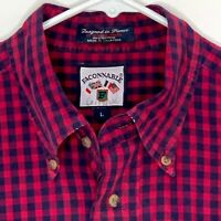 Faconnable Mens Designer Shirt LS Blue Red Checked Large