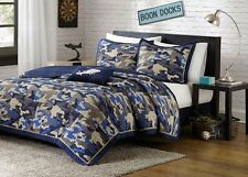CAMOUFLAGE BLUE Full Queen QUILT SET : CAMO MILITARY ARMY MARINE COVERLET BED