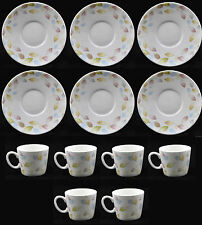 Lucca Set Of 6 Demi Cups & 6 Saucers White Espresso Cups And Plates Leaf Design