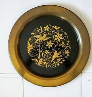 Vintage Brass Round Serving Tray / Black inlay Floral Design