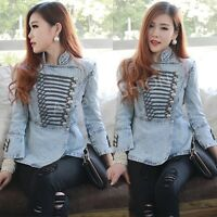 Vintage Washed Denim Women Slim Jackets Military Short Coat Jean Jackets Outwear
