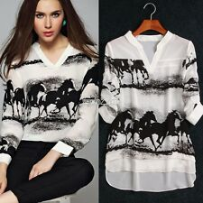 Women Horse Ink Printed Casual Long Sleeve Loose Chiffon Shirt Top Blouse Dress