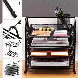 Metal Filing Letter Trays Holder Office Desk Paper Document Organiser 4 Tier