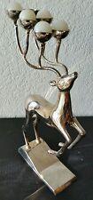 Godinger Silver Reindeer Candelabra Candle Holder Christmas w/original Candles