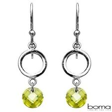 BOMA 925 STERLING SILVER AND GOLDEN GREEN CUBIC ZIRCONIA HOOK DANGLE EARRINGS