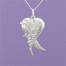 "925 Sterling Silver Angel Wings Heart Locket 18""/20"" Pendant A880"
