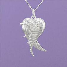 """925 Sterling Silver Angel Wings Heart Locket 18""""/20"""" Pendant A880"""