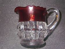 Vintage Red / Clear Glass Creamer Pitcher