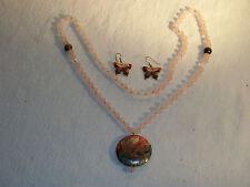 Beautiful Enameled Butterfly Necklace & Earrings Set alloy metal Pink & Plastic