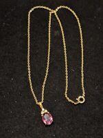Vintage Gold Tone Purple Rhinestone Drop Pendant Necklace
