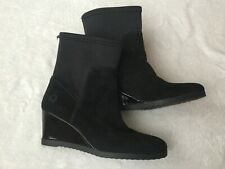Women's ancle boots black suede wedges real Italian leather size 37 Eur or UK 4