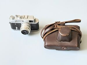 Rare Vintage Mir Russian Camera with 1:3,5 f=5cm Lens & Leather Case Untested