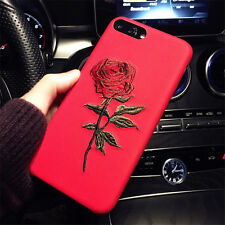 Vogue Red Girl's Rose Embroidery Shockproof Case Cover for Apple iPhone 7 Plus