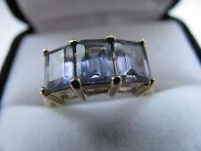 9ct Yellow Gold Emerald Cut 3.ct Tanzanite Trio Ring 3g Sz N 1/2 Us 7.2 Stunner