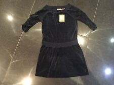 NWT Juicy Couture New & Genuine Girls Age 8 Blue Velour Dress With 3/4 Sleeves