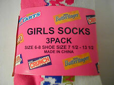 3 pairs GIRLS  Socks  CANDY size 6-8 SHOE SIZE 7.5- 13.5