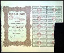 Tuileries de LEFOREST Pas de Calais action de 1000 Frs 1930  - N°000484