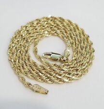 """Real 10k Yellow Gold Necklace SOLID Rope Chain 1.5 mm 22"""" inch 1.5MM Men Women"""