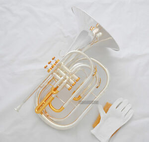 Professional Silver Gold Plated Marching French horn B-Flat Monel Valve New Case