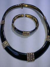 Vintage Van Cleef & Arpels 18K Yellow Gold Enamel  Diamond Necklace Bracelet Set