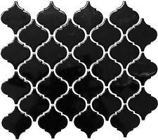 Mosaik schwarz glänzend Fliesenspeigel Wand Florentiner Ornament WB13-2BG|1Matte