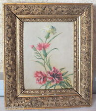huile sur carton peinture oeillets tableau signé F.G pour F.Grenaud