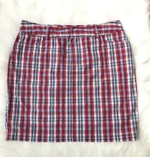 Chaps Red, White And Blue plaid Flat Front women's Above Knee skirt size 10