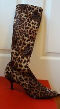 NEW DONALD J PLINER LUNA CAMEL STRETCH LEOPARD WOMEN'S BOOTS sz. 8 M