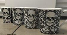 222 FIFTH HALLOWEEN SKULLS TEA CUPS / COFFEE MUGS SET OF 4 POISON RIP SKULL