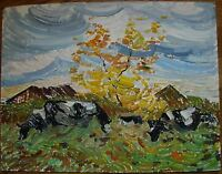 Russian Ukrainian Soviet Oil Painting Cow Landscape Impressionism Pointillism
