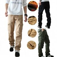 Mens Spring Cotton Fleece Lined Combat Work Pockets Long Pants Trousers Lot Male