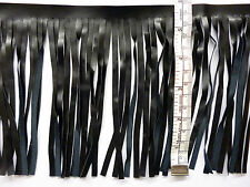 Fringing, Tassels, Black, Leatherette, PU, 15cm, 6 inches Long