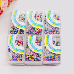 500Pcs Dressmaking Sewing Pin Straight Pins Round Colorful Head Pearl Corsage