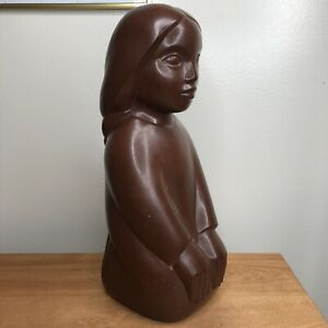 1973 Modernist Abstract Girl Sculpture Cleo Hartwig signed C. Hartwig AMR Brown
