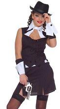 Ladies 1920s Black Pinstripe Gangsters Moll Bugsy Malone Fancy Dress Size 10-14