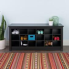 Black Entryway Shoe Storage Bench Cubby Organizer Wood Cabinet Shelf Hallway