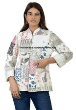 Mujer Reversible Acolchado Patchwork Chaqueta Blanco con Botones Invierno