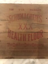 ANTIQUE USA COUNTRY WOOD Crate Sign Schumacher's QUAKER OATS Company ART BOX