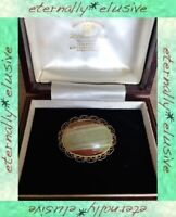 Vintage Gold Plated Filigree Oval Celtic Scottish Green Onyx Stone Brooch Pin