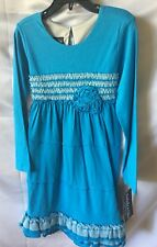 Isobella And Chloe Girls Dark Turquoise Peasant Style Tiered Dress Size 14-New